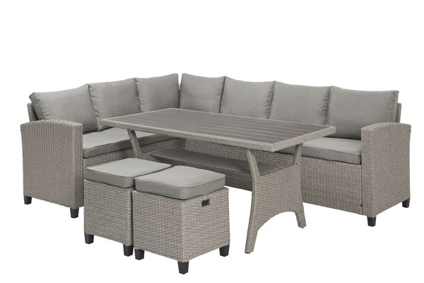 Bali Transitional Gray Steel Tubing Rattan Wicker Outdoor Sectional Set PRG-I718-27-28-29