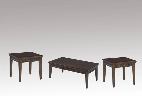 Casual Traditions Walnut Rubberwood MDF 3pc Coffee Table Set PRG-P107-OCT-S