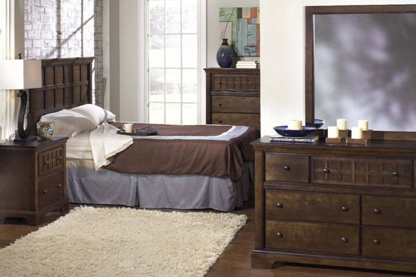 Casual Traditions Traditional Walnut Wood Glass 2pc Bedroom Sets PRG-P107-BR-S