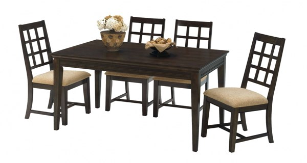 Casual Traditions Walnut Rubberwood MDF Rectangular Dining Room Set PRG-P107-RECT-DR