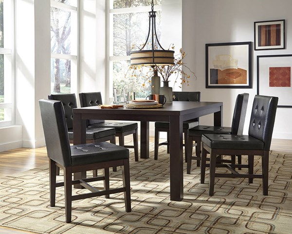 Athena Transitional Dark Chocolate Rubberwood MDF 7pc Dining Room Set PRG-P109D-DR-S1