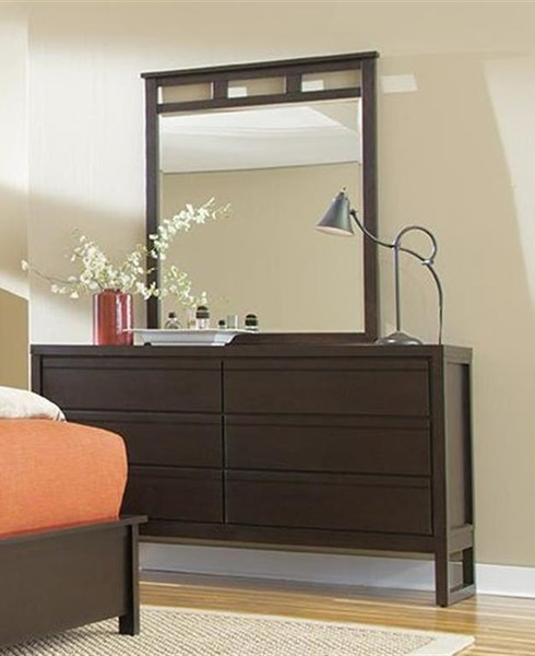 Athena Transitional Dark Chocolate Rubberwood MDF Dresser & Mirror PRG-P109-23-50