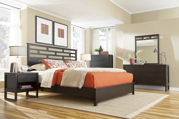 Athena Dark Chocolate Rubberwood MDF 2pc Bedroom Set W/Queen Panel Bed PRG-P109-BR-S1