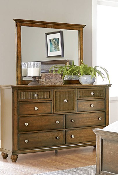 Cotswold Grove Transitional Root Beer Rubberwood Dresser And Mirror PRG-P111-23-50