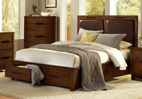 Portland Contemporary Nutmeg Rubberwood Queen Footboard Storage Bed PRG-P114-QB