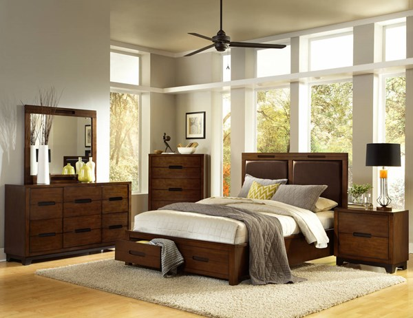 Portland Nutmeg Rubberwood 2pc Bedroom Set W/King Storage Bed PRG-P114-BR-S2