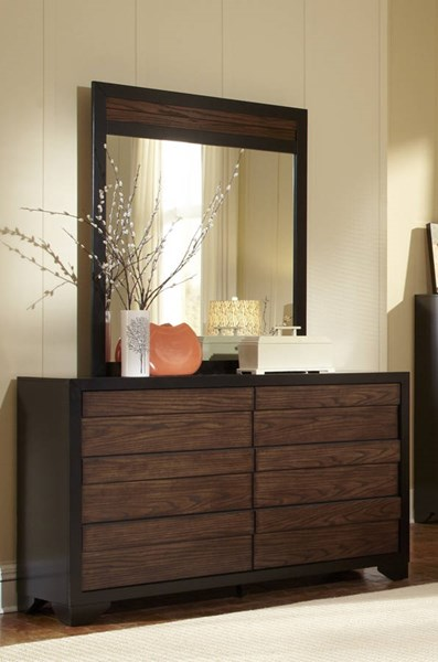 Echo Contemporary Black Dark Oak Wood MDF Dresser & Mirror PRG-P123-23-50