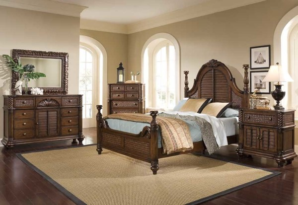 Palm Court II Coco Brown MDF Rattan 2pc Bedroom Set W/Queen Bed PRG-P142-BR-S1