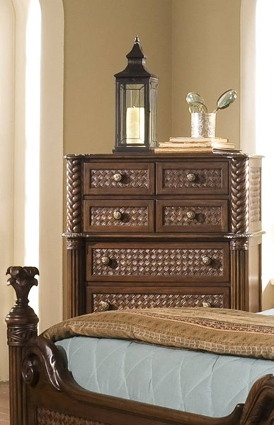 Palm Court II Tropical Coco Brown MDF Rattan 7 Drawer Chest PRG-P142-14