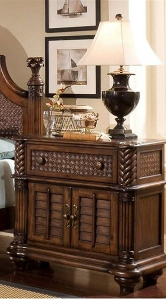 Palm Court II Tropical Coco Brown MDF Rattan Bedside Chest Nightstand PRG-P142-45
