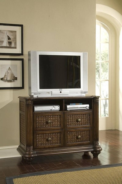 Palm Court II Tropical Coco Brown MDF Rattan Media Chest PRG-P142-40