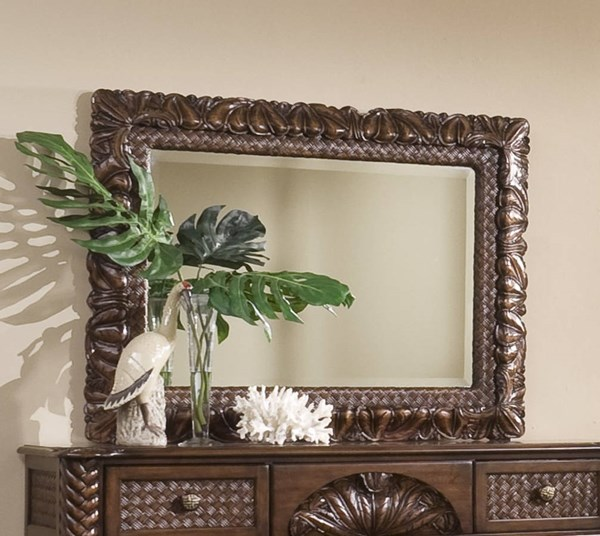 Palm Court II Tropical Coco Brown MDF Rattan Carved Landscape Mirror PRG-P142-50