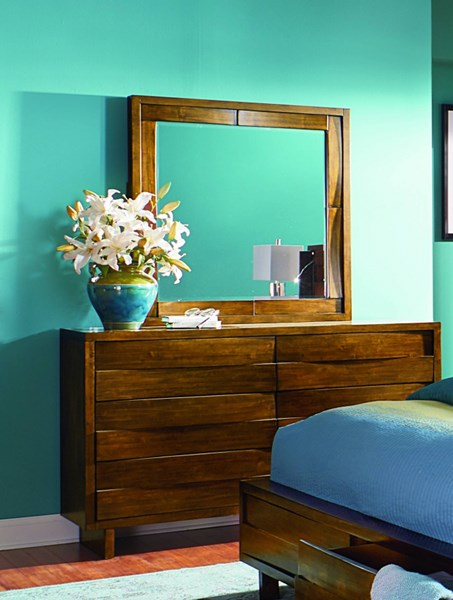 North Shore Contemporary Acorn Rubberwood MDF Dresser & Mirror PRG-P154-23-50-DRMR