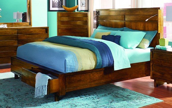 North Shore Contemporary Acorn Rubberwood MDF Queen Bed PRG-P154-QB