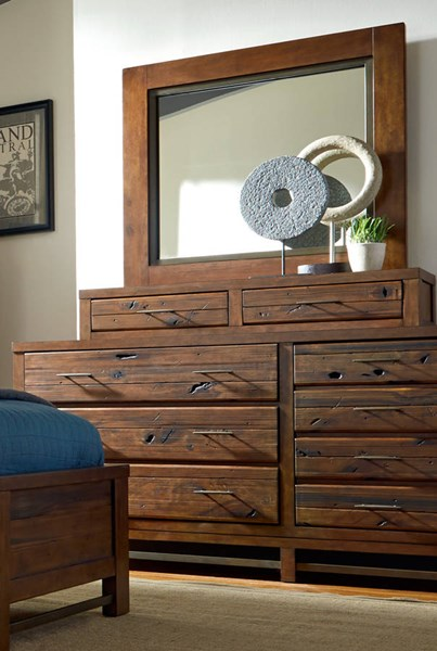 Navigator Repurposed Poplar Rubberwood MDF Dresser & Mirror PRG-P178-DRMR