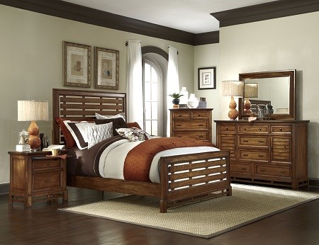 Catalina Transitional Toffee Wood 5pc Bedroom Sets PRG-P182-BR-S
