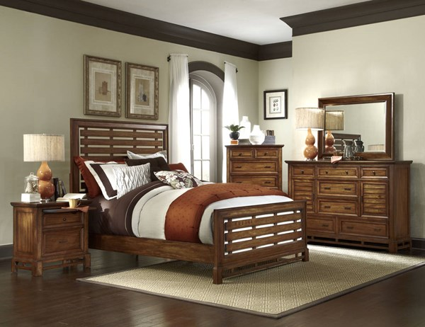 Catalina Transitional Toffee Wood Master Bedroom Set PRG-P182-BR