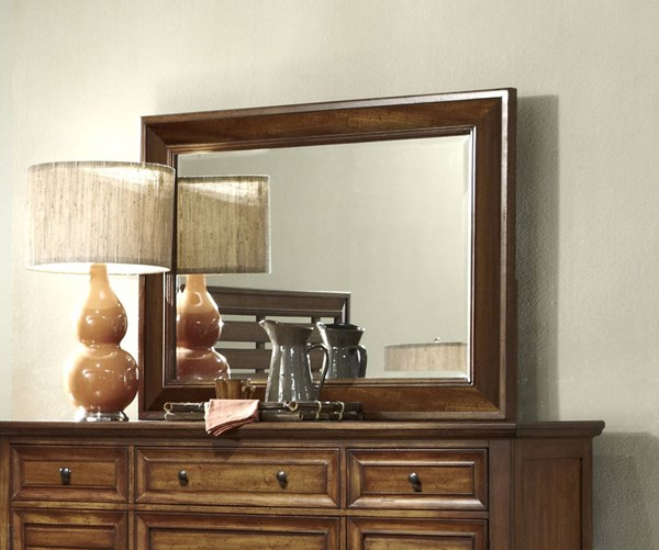Catalina Transitional Toffee Wood Glass Mirror PRG-P182-50