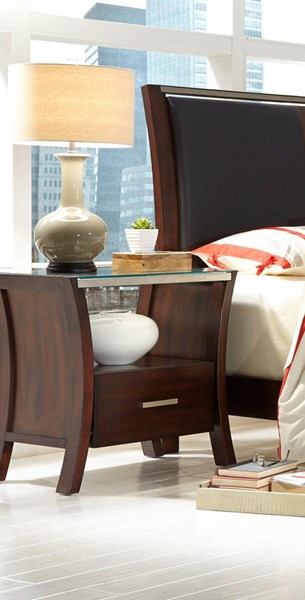 Avalon Contemporary Sable Rubberwood MDF Nightstand PRG-P184-43