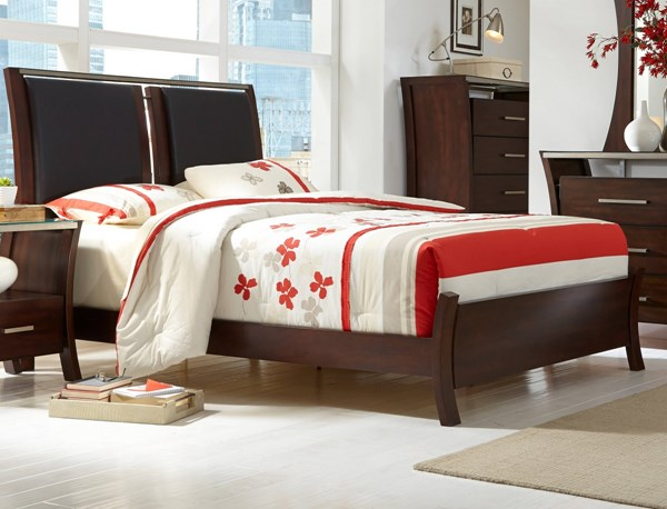 Avalon Contemporary Sable Rubberwood MDF Queen Upholstered Bed PRG-P184-QB