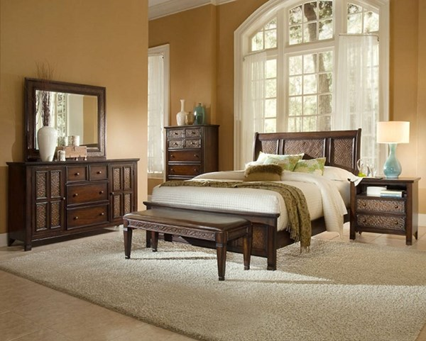 Kingston Isle Transitional Brown Wood 2pc Bedroom Sets PRG-P195-BR-S