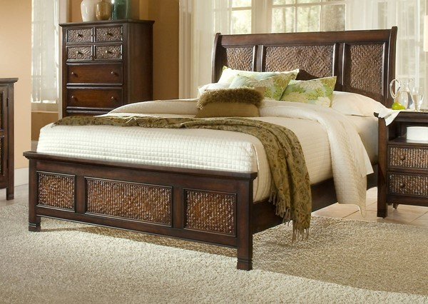 Kingston Isle Havana Brown MDF Rattan Queen Sleigh Headboard PRG-P195-80