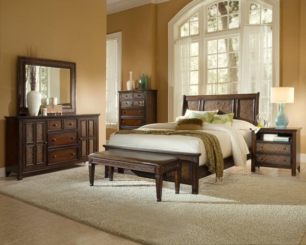Kingston Isle Havana Brown MDF Rattan 2pc Bedroom Set W/Queen Bed PRG-P195-BR-S1