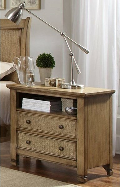 Kingston Isle Transitional Sand MDF Rattan Nightstand PRG-P196-44
