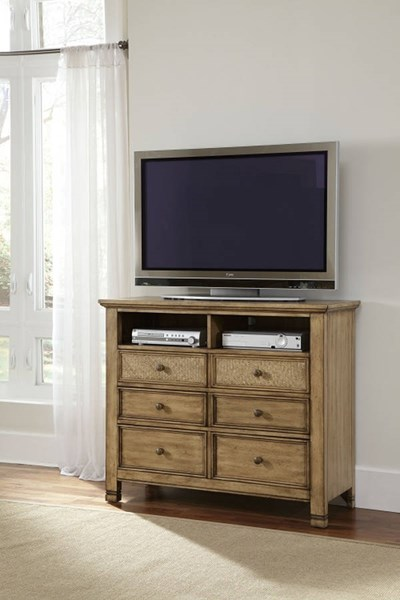 Kingston Isle Transitional Sand MDF Rattan Media Chest PRG-P196-46
