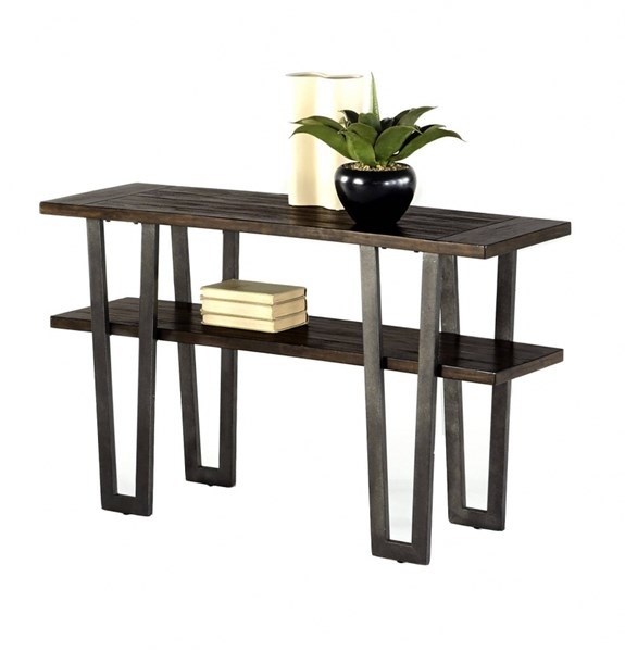 Sedona Transitional Wire Brushed Light Elm MDF Metal Sofa Table PRG-P327-05