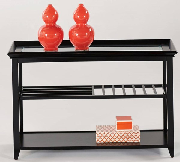 Sandpiper Contemporary Black Wood MDF Glass Sofa / Console Table PRG-P344-05
