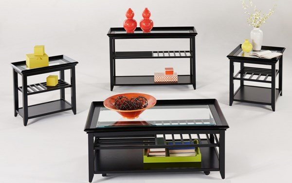 Sandpiper Black Wood MDF Glass Castered 3pc Rectangle Coffee Table Set PRG-P344-OCT-S