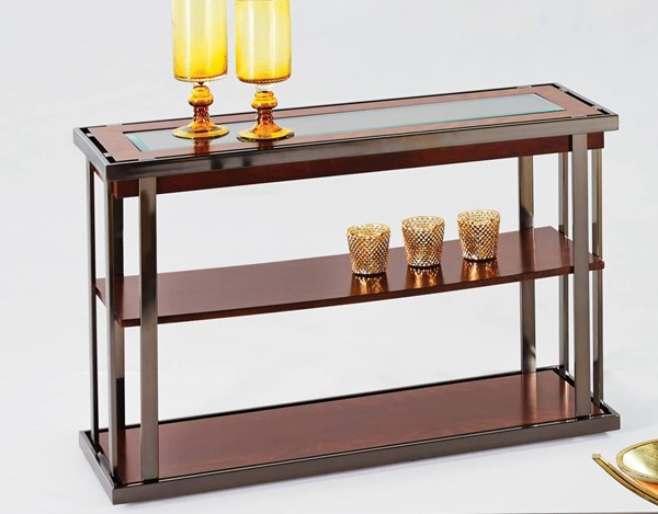 Medalist Black Burl Cherry MDF Glass Metal Sofa Console Table PRG-P350-05