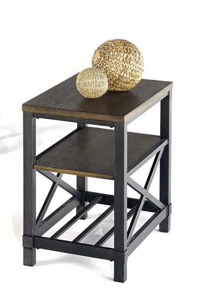 Oak Hill Transitional Wire Brushed Oak MDF Metal Chairside Table PRG-P359-29
