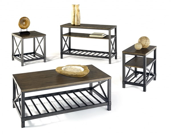Oak Hill Transitional Wire Brushed Oak MDF Metal Coffee Table Set PRG-P359-OCT