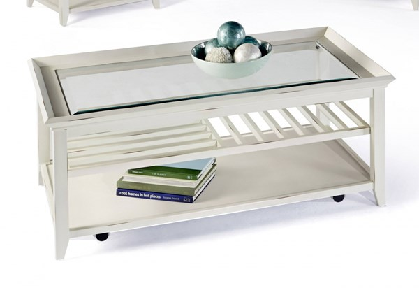 Sandpiper II White Wood MDF Glass Rectangle Castered Cocktail Table PRG-P376-01
