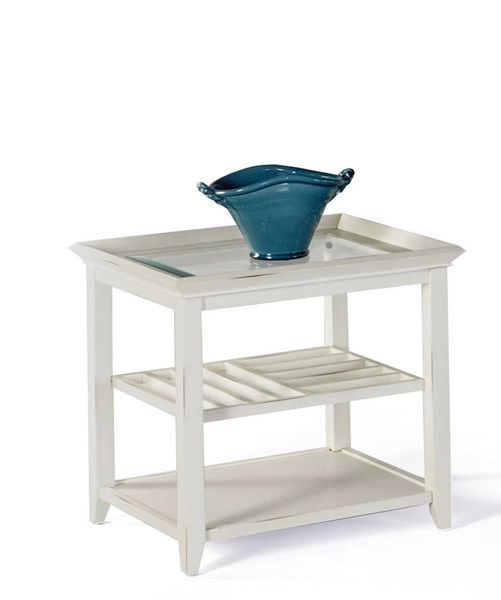 Sandpiper II Contemporary White Wood MDF Glass Rectangle End Table PRG-P376-04