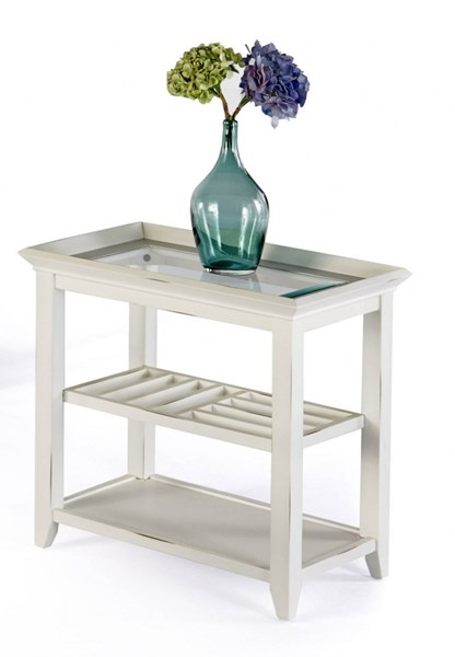 Sandpiper II Contemporary Brushed White Wood MDF Glass Chairside Table PRG-P376-29