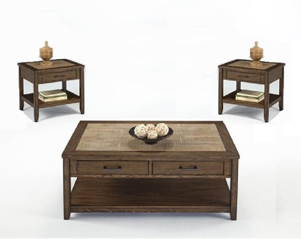 Forest Brook Transitional Ash Ceramic Tile MDF 3pc Coffee Table Set PRG-P378T-OCT-S1