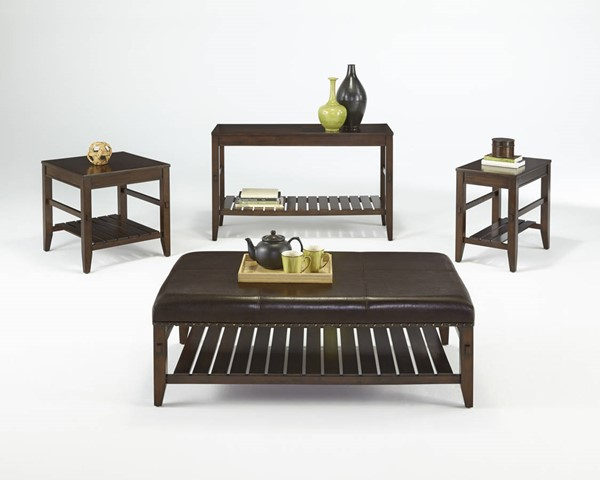 Jupiter Key Contemporary Cherry Wood Faux Leather Coffee Table Set PRG-P390-OCT