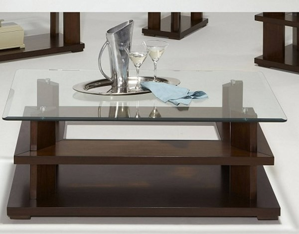 Delfino Contemporary Cherry Wood MDF Glass Rectangular Cocktail Table PRG-P404-01