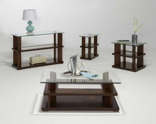 Delfino Burnished Cherry Wood MDF Glass Rectangle Coffee Table Set PRG-P404-OCT