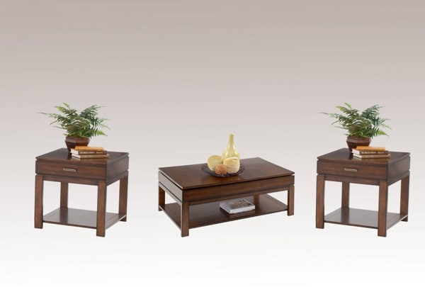 Miramar Contemporary Birch Cherry Veneer Wood MDF 3pc Coffee Table Set PRG-P412-01-04