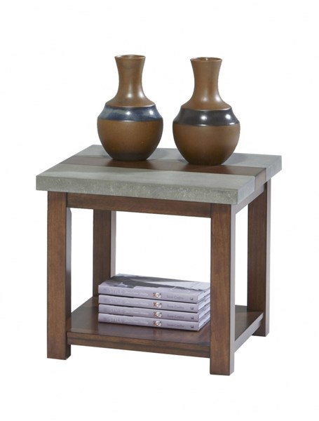Cascade Contemporary Nutmeg Birch Cement MDF Chairside Table PRG-P426-29