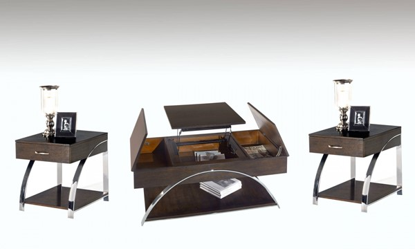 Showplace Contemporary Cappuccino Oak MDF Steel 3pc Coffee Table Set PRG-P428-OCT-S