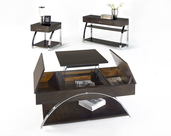 Showplace Contemporary Cappuccino Oak MDF Steel Coffee Table Set PRG-P428-OCT