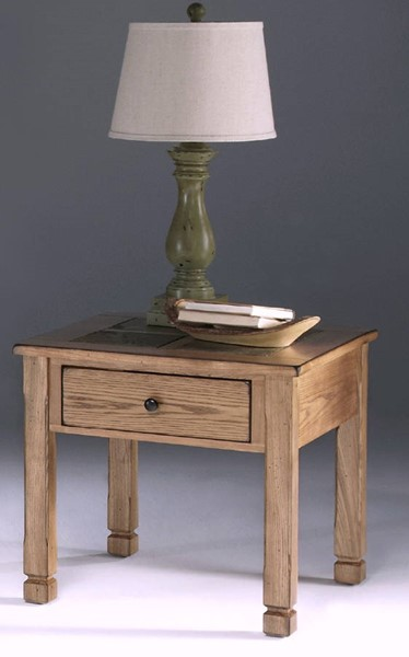 Rustic Ridge Country Light Oak Veneer Elm MDF Square Lamp Table PRG-P468-02