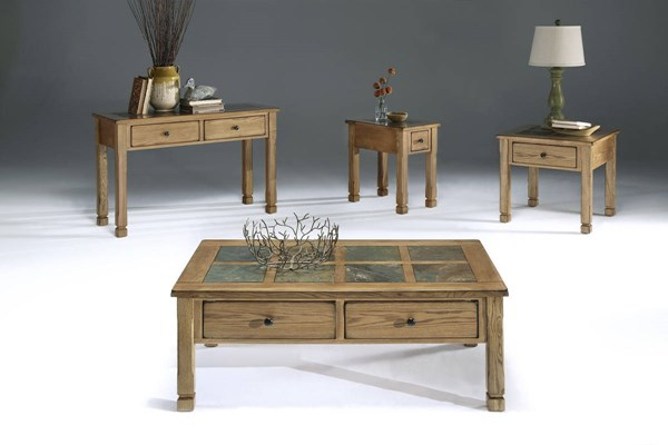 Rustic Ridge Country Light Oak Veneer Elm MDF Coffee Table Set PRG-P468-OCT