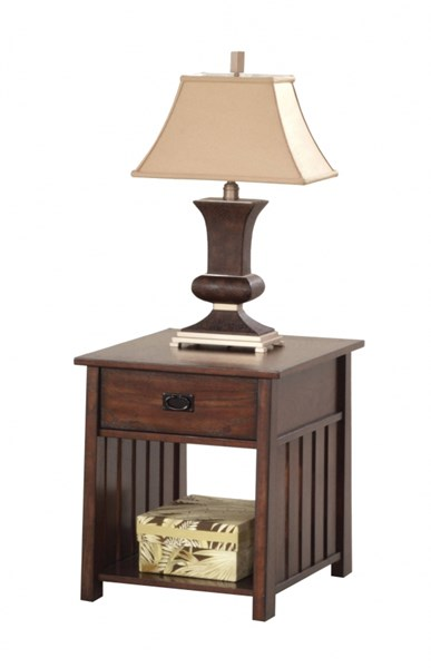 Mountain Mission Country Dark Ash Wood Rectangular End Table PRG-P473-04