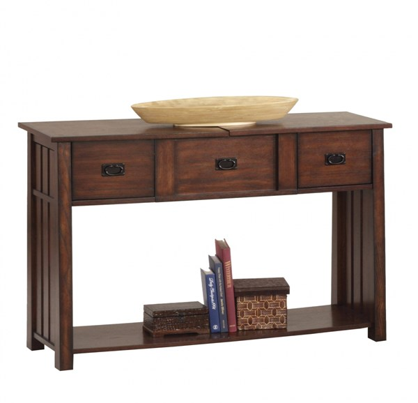 Mountain Mission Country Dark Ash Wood Sofa Table / Desk PRG-P473-05